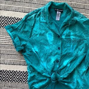 Sag Harbor Teal Bleach Splatter Button Blouse
